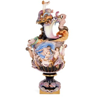 Large Capodimonte porcelain ewer and cover