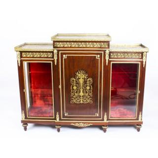 Antique Napoleon III Flame Mahogany Boulle Credenza c.1860 19th Century