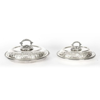 Antique Pair Engraved Entree Dishes Oval Tureens & Covers Late 19th Century
