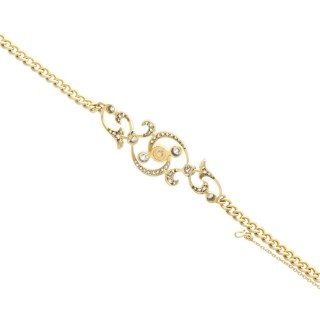 Natural Pearl and 2.72 ct Diamond, 15 ct Yellow Gold and Silver Set Bracelet - Antique Circa 1900