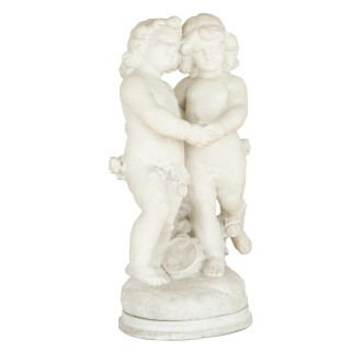 19th Century white marble group of two cherubs by A. Duché