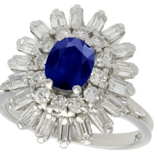 1.25 ct Sapphire and 1.15 ct Diamond, 18 ct White Gold Dress Ring - Vintage Circa 1970