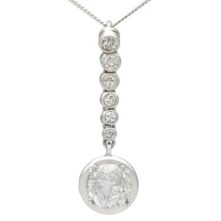 1.41 ct Diamond and Platinum Drop Pendant - Antique French Circa 1920