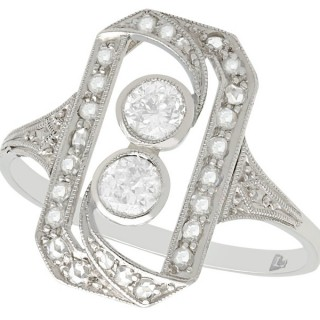 0.63 ct Diamond and 18 ct White Gold Dress Ring - Antique Circa 1920