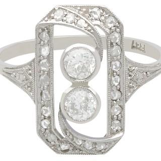 0.63 ct Diamond and 18 ct White Gold Dress Ring - Antique Circa 1920