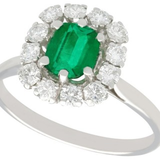1.33 ct Emerald and 0.90 ct Diamond 18 ct White Gold Cluster Ring - Vintage Circa 1980