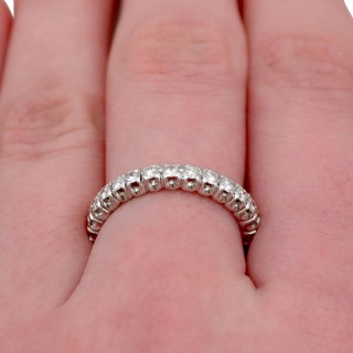 0.90ct Diamond and 18ct White Gold Full Eternity Ring - Vintage Circa 1950