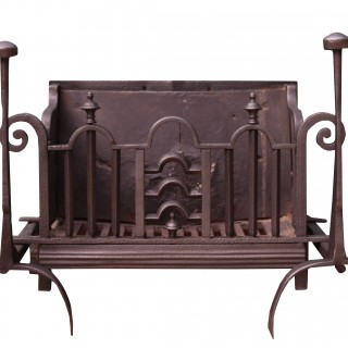 A Victorian Cast and Wrought Iron Fire Grate