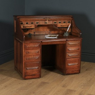 "Antique English Edwardian 4ft 2"" Solid Oak Roll Top Pedestal Office Desk (Circa 1910)"
