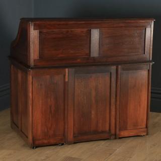 "Antique English Edwardian 4ft 2"" Solid Oak Roll Top Pedestal Office Desk (Circa 1910)"