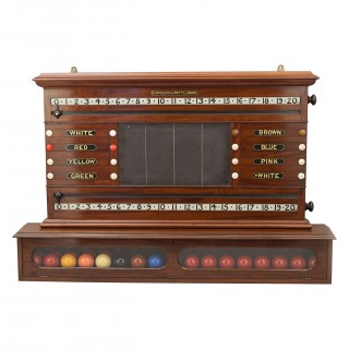Burroughes And Watts Snooker Score Board With Life Pool & Ball Compartment Cabinet