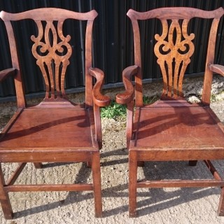 Pair of Antique Country Chippendale Carver Chairs / Desk Chairs