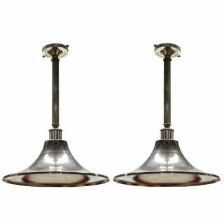A PAIR OF ENGLISH SILVER PLATED HANGING LIGHTS