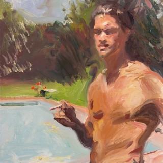 Man Smoking by a Swimming Pool