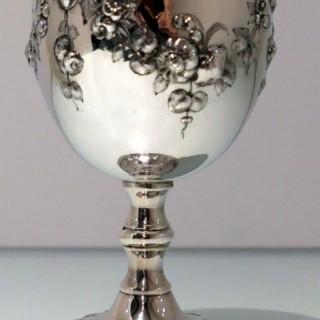 19th Century Antique Victorian Sterling Silver Wine Goblet London 1867 Robert Harper