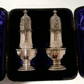 19th Century Antique Victorian Sterling Silver Pair Peppers Chester 1897 Nathan & Hayes