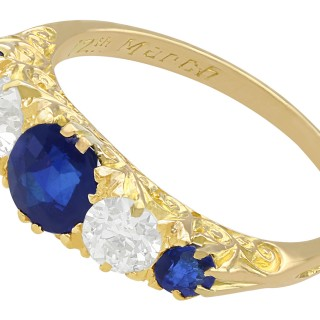 1.39 ct Sapphire and 0.72 ct Diamond, 18ct Yellow Gold Five Stone Ring - Antique Circa 1910