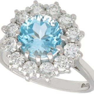 2.60ct Topaz and 1.04ct Diamond 18ct White Gold Cluster Ring - Vintage 1988