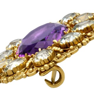 10.88ct Amethyst and 5.85ct Aquamarine and 21ct Yellow Gold Brooch - Antique Circa 1830