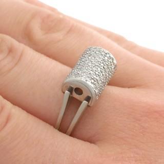 0.68 ct Diamond and 18 ct White Gold Dress Ring - Vintage Circa 1970