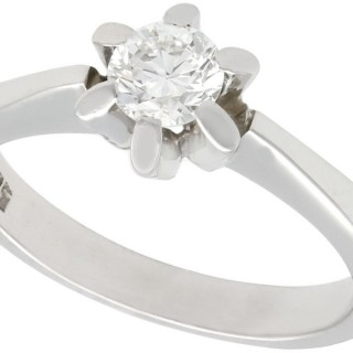 0.43 ct Diamond and 14 ct White Gold Solitaire Ring - Vintage Circa 1960
