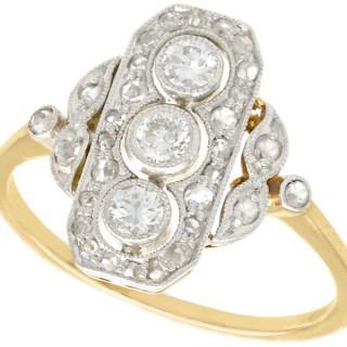 0.72 ct Diamond and 18 ct Yellow Gold Dress Ring - Art Deco - Antique Circa 1920