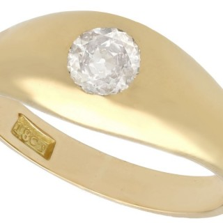 0.54ct Diamond and 18ct Yellow Gold Gent's Ring - Antique Circa 1900