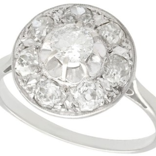 0.62 ct Diamond and 18 ct White Gold Dress Ring - Antique French Circa 1930