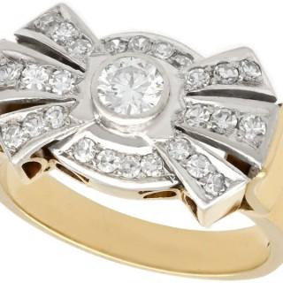 0.86 ct Diamond and 14 ct Yellow Gold Dress Ring - Vintage Circa 1950