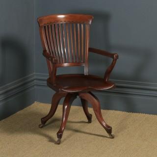 Antique English Victorian Mahogany Revolving High Back Office Desk Arm Chair (Circa 1880)