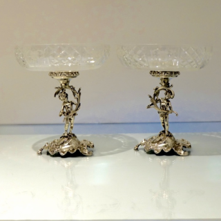 Antique 800 Standard Silver Pair Comports Germany Circa 1880