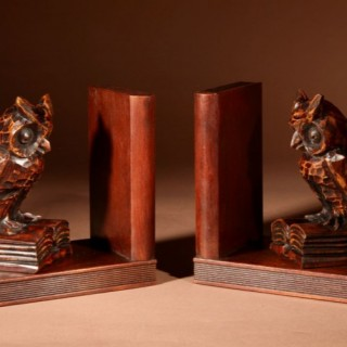 A Decorative Pair Of Carved Wooden Black Forest Art Deco Owl Bookends. Circa 1920-1940