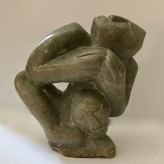 Inuit Carved Serpentine Figure Group