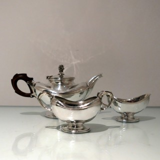 Modern George V Sterling Silver Three Piece Teaset London 1931/32 Omar Ramsden
