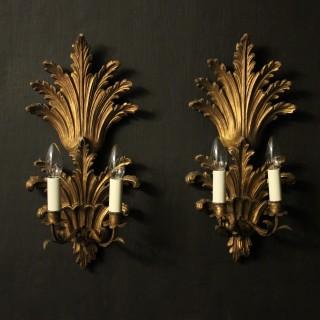 Italian Pair Of Giltwood Leaf Wall Lights