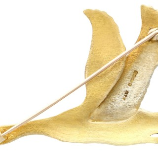 Enamel, 9ct Rose, White and Yellow Gold Goose Brooch - Vintage 1978