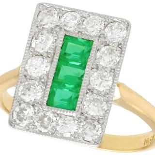 0.57ct Emerald and 1.33ct Diamond, 18ct Yellow Gold Dress Ring - Antique Circa 1930