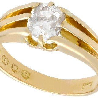 1.21 ct Diamond and 18 ct Yellow Gold Solitaire Ring - Antique 1909