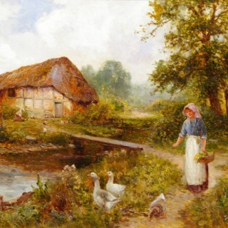 The Artist's Wife, Eva Walbourn, with Geese & An Old Watermill near Capel Curig, North Wales (A Pair)