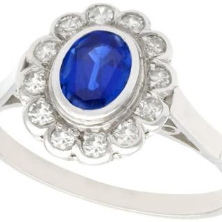 1.12ct Sapphire and 0.48ct Diamond, Platinum Cluster Ring - Antique Circa 1930