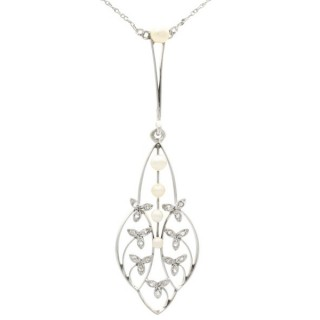0.20 ct Diamond and Seed Pearl, Yellow Gold Necklace - Antique Circa 1930