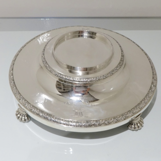 Antique George III Sterling Silver Large Soup Tureen on Stand London 1801 Robert Sharp