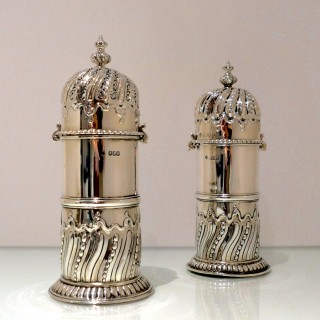 Antique Victorian Sterling Silver Pair Sugar Casters London 1900/01 George Fox