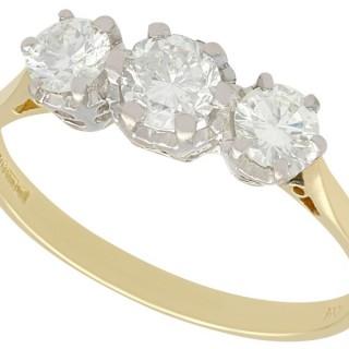 0.85 ct Diamond and 18 ct Yellow Gold Three Stone Ring - Vintage 1977