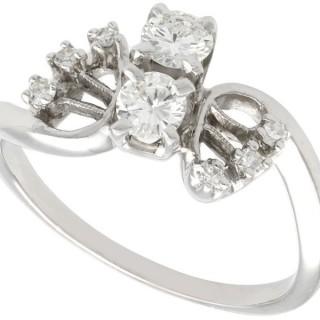 0.59ct Diamond and 14ct White Gold Twist Ring - Vintage Circa 1950