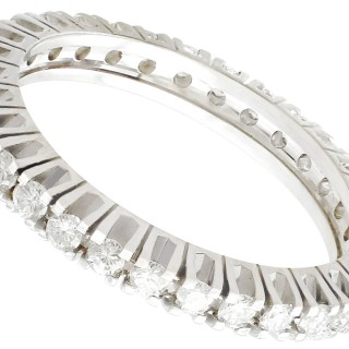 1.07ct Diamond and 18ct White Gold Full Eternity Ring - Vintage Cira 1980