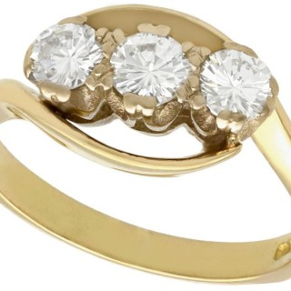 0.83 ct Diamond and 18 ct Yellow Gold Twist / Trilogy Ring - Vintage 1991