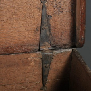 Antique English 17th Century Solid Oak Bible / Writing Box / Trunk / Chest (Circa 1680 - 1700)