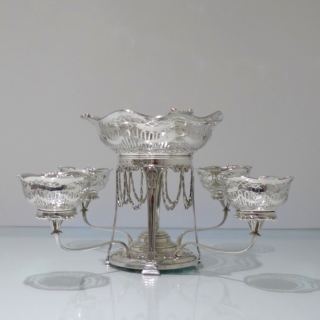 Antique George V Sterling Silver Epergne Edinburgh 1910 Hamilton & Inches
