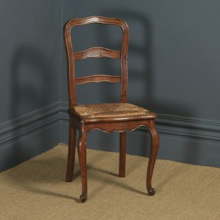 Antique French Louis XV Style Oak Ladder Back Kitchen Dining Chair (Circa 1910)